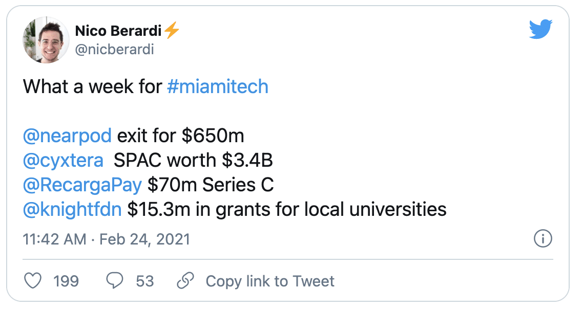 Miami Tech Is Real Tweet