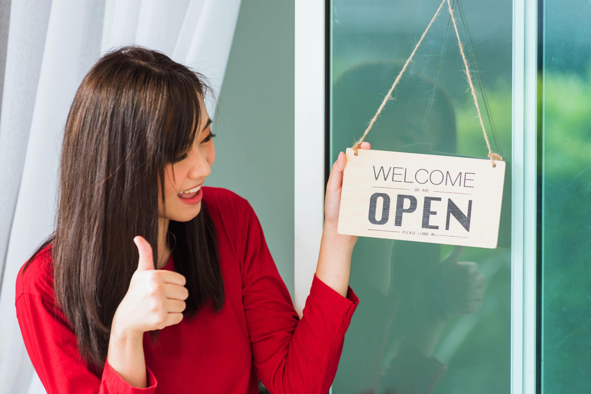 Small business owner opens business